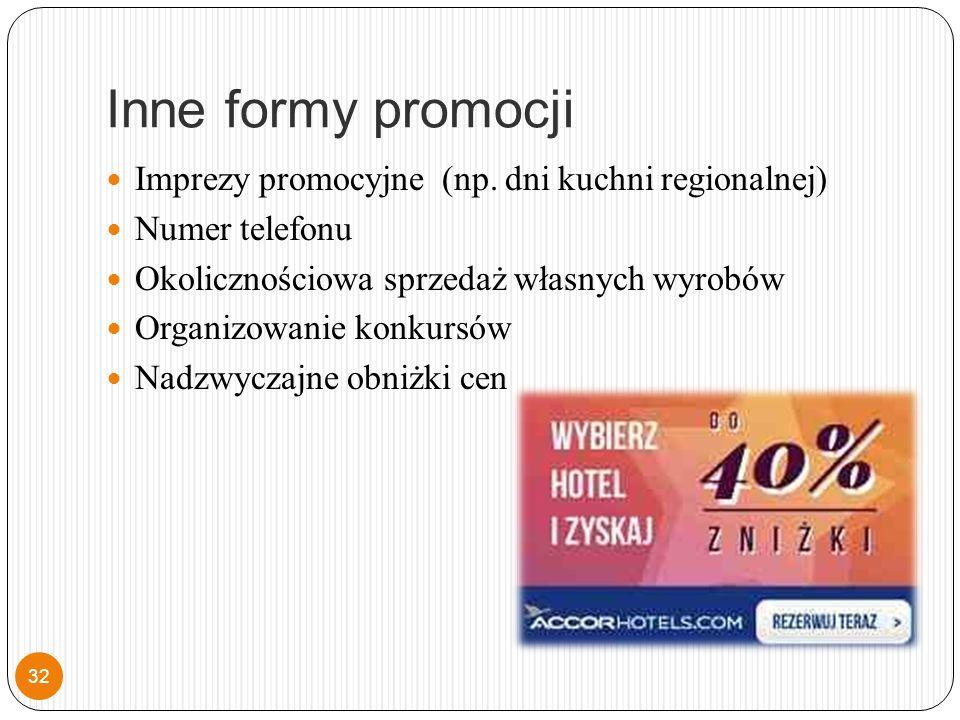 Inne formy promocji Imprezy promocyjne (np.