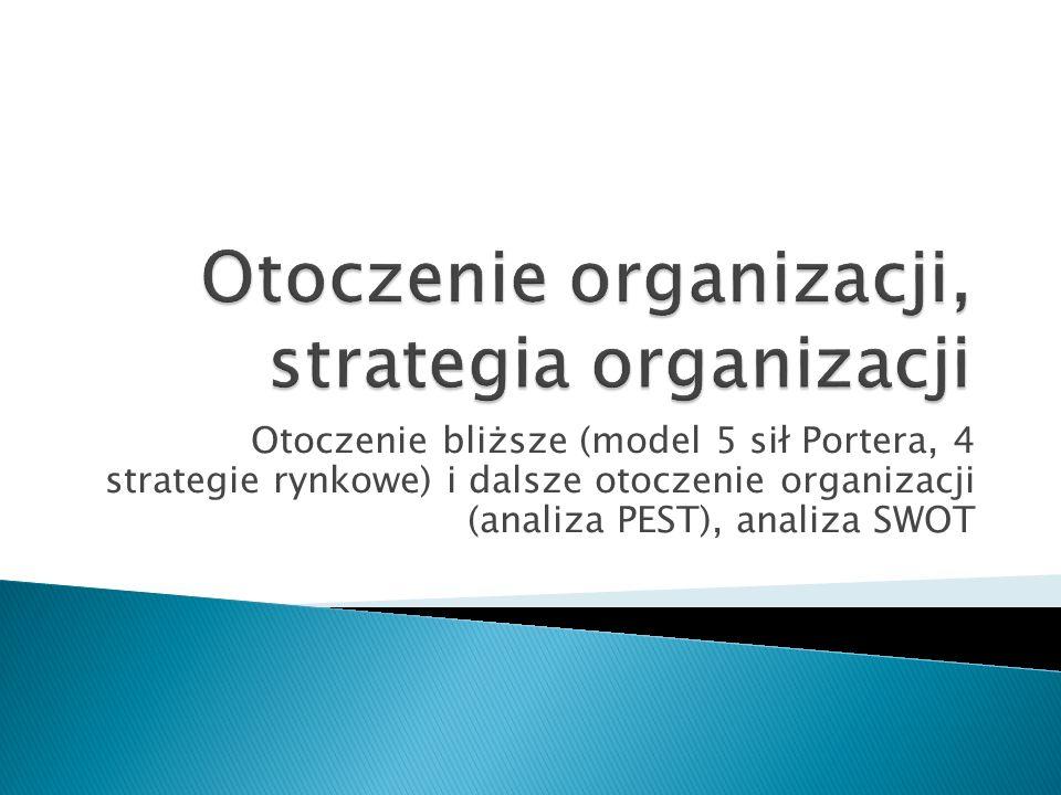 Otoczenie bliższe (model 5 sił Portera, 4 strategie rynkowe) i dalsze otoczenie organizacji (analiza PEST), analiza SWOT