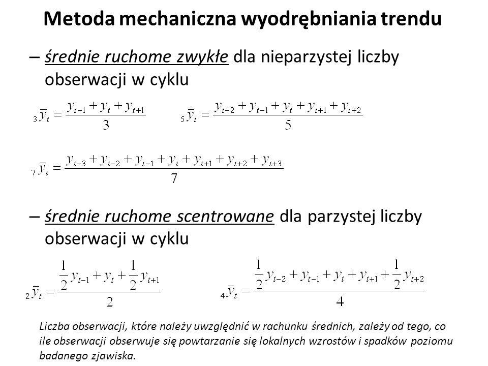 Metoda mechaniczna wyodrębniania trendu – średnie ruchome zwykłe dla nieparzystej liczby obserwacji w cyklu – średnie ruchome scentrowane dla parzystej liczby obserwacji w cyklu Liczba obserwacji, które należy uwzględnić w rachunku średnich, zależy od tego, co ile obserwacji obserwuje się powtarzanie się lokalnych wzrostów i spadków poziomu badanego zjawiska.