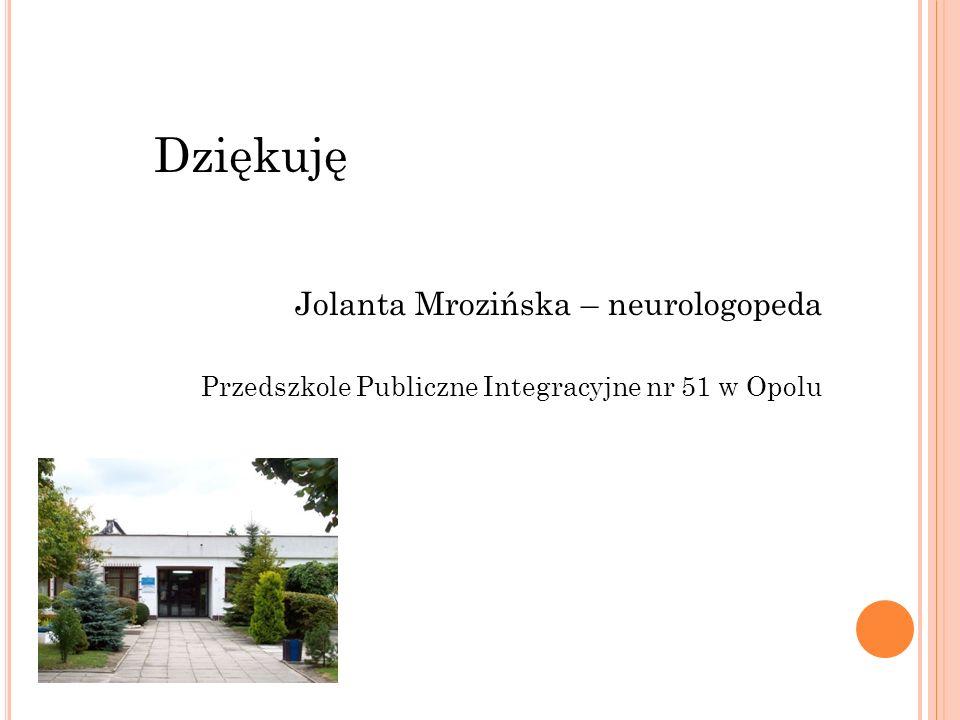 Dziękuję Jolanta Mrozińska – neurologopeda Przedszkole Publiczne Integracyjne nr 51 w Opolu