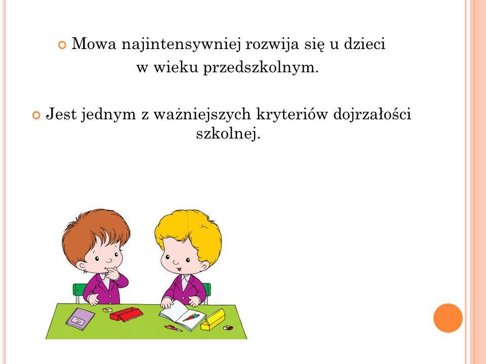 Mowa najintensywniej rozwija się u dzieci w wieku przedszkolnym.