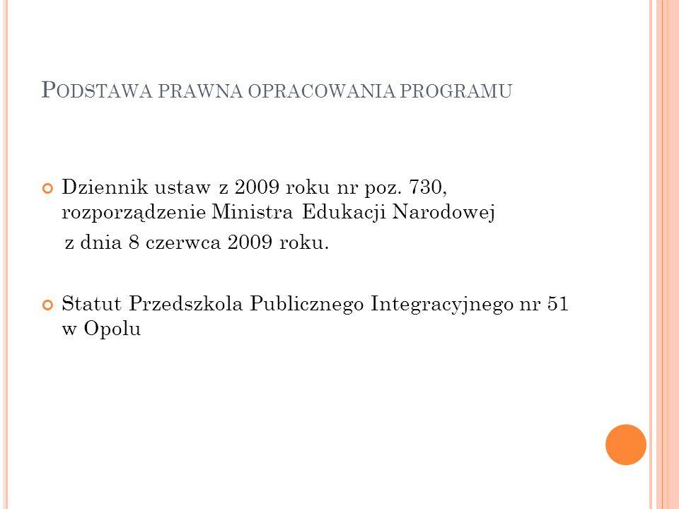 P ODSTAWA PRAWNA OPRACOWANIA PROGRAMU Dziennik ustaw z 2009 roku nr poz.
