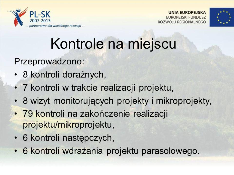 Kontrole na miejscu Przeprowadzono: 8 kontroli doraźnych, 7 kontroli w trakcie realizacji projektu, 8 wizyt monitorujących projekty i mikroprojekty, 7