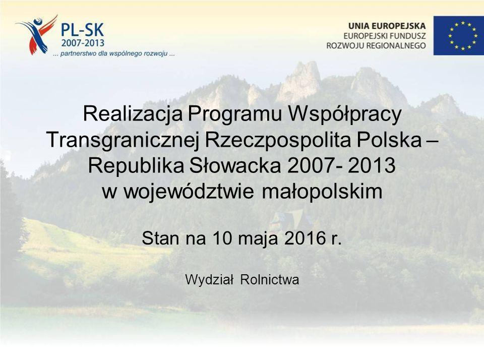 Realizacja Programu Współpracy Transgranicznej Rzeczpospolita Polska – Republika Słowacka 2007- 2013 w województwie małopolskim Stan na 10 maja 2016 r