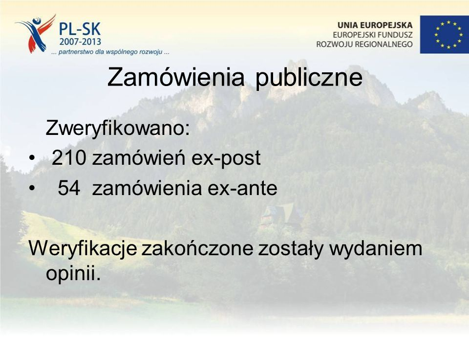 Zamówienia publiczne Zweryfikowano: 210 zamówień ex-post 54 zamówienia ex-ante Weryfikacje zakończone zostały wydaniem opinii.