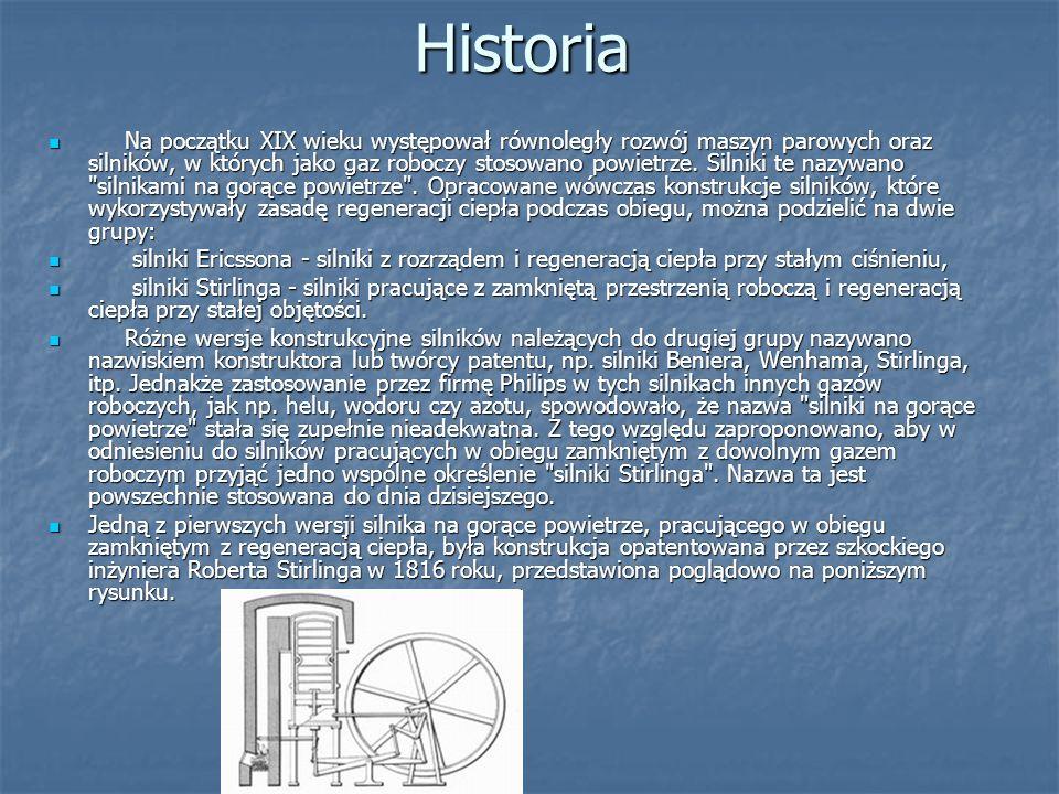 Historia Na początku XIX wieku występował równoległy rozwój maszyn parowych oraz silników, w których jako gaz roboczy stosowano powietrze. Silniki te