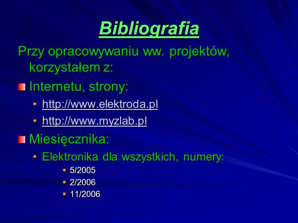 Bibliografia Przy opracowywaniu ww. projektów, korzystałem z: Internetu, strony: hh tttt tttt pppp :::: //// //// wwww wwww wwww.... eeee llll eeee kk