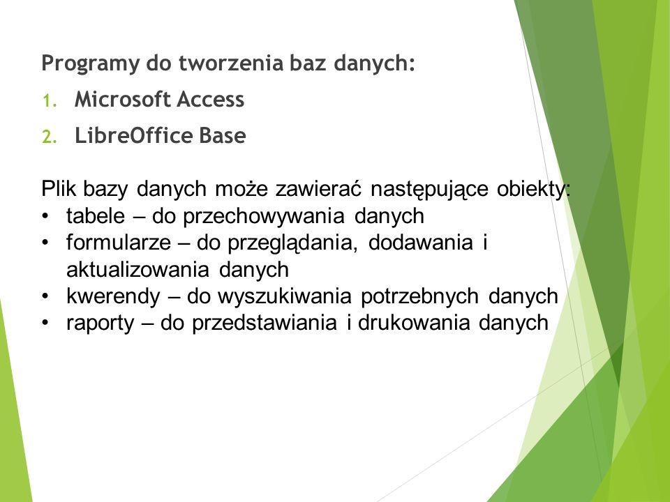 Programy do tworzenia baz danych: 1. Microsoft Access 2. LibreOffice Base Plik bazy danych może zawierać następujące obiekty: tabele – do przechowywan