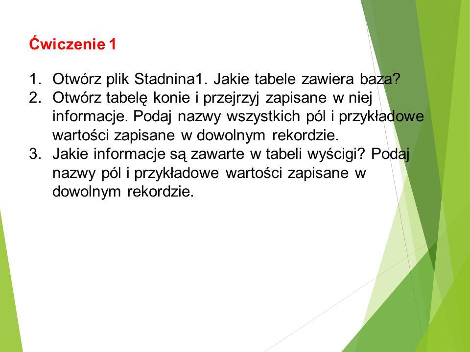 Ćwiczenie 1 1.Otwórz plik Stadnina1. Jakie tabele zawiera baza? 2.Otwórz tabelę konie i przejrzyj zapisane w niej informacje. Podaj nazwy wszystkich p