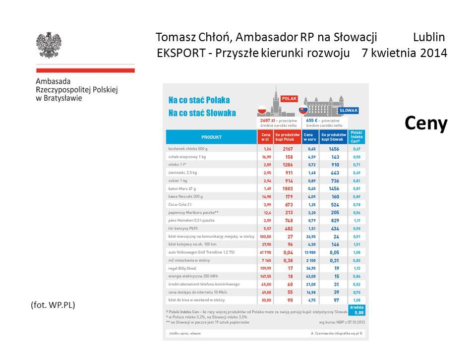 Tomasz Chłoń, Ambasador RP na Słowacji Lublin EKSPORT - Przyszłe kierunki rozwoju 7 kwietnia 2014 Ceny (fot.