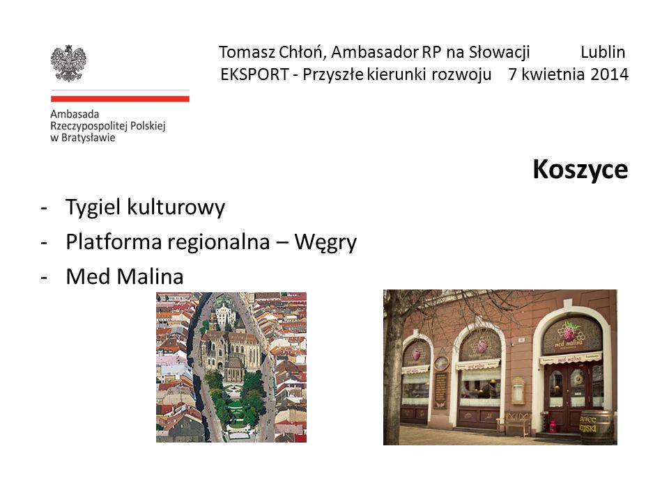 Tomasz Chłoń, Ambasador RP na Słowacji Lublin EKSPORT - Przyszłe kierunki rozwoju 7 kwietnia 2014 Koszyce -Tygiel kulturowy -Platforma regionalna – Węgry -Med Malina