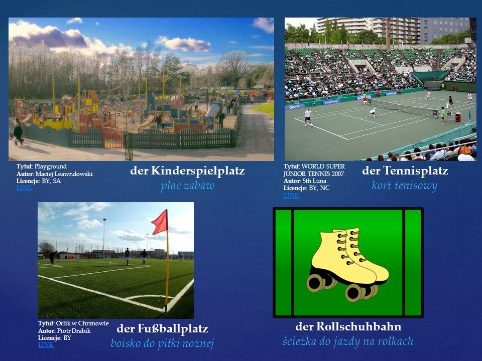 Tytuł: Playground Autor: Maciej Leawndowski Licencje: BY, SA LINK der Kinderspielplatz plac zabaw Tytuł: WORLD SUPER JUNIOR TENNIS 2007 Autor: 5th Lun