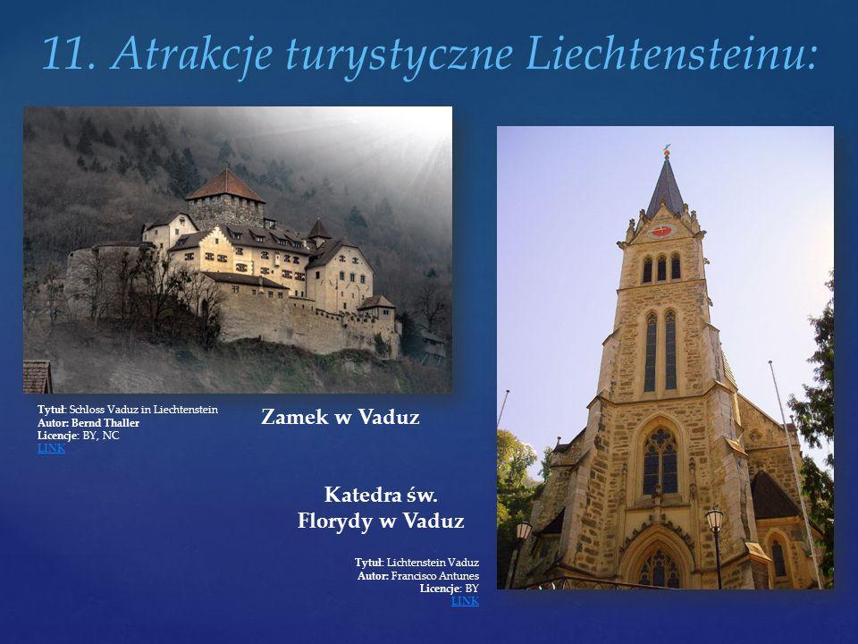 11. Atrakcje turystyczne Liechtensteinu: Zamek w Vaduz Tytuł: Schloss Vaduz in Liechtenstein Autor: Bernd Thaller Licencje: BY, NC LINK Katedra św. Fl