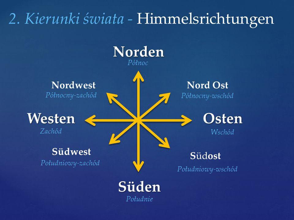 2. Kierunki świata - HimmelsrichtungenNorden Süden OstenWesten Südwest NordwestNord Ost Südost Północ Wschód Południe Zachód Południowy-zachód Północn