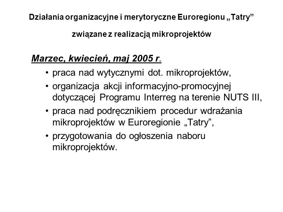 """Działania organizacyjne i merytoryczne Euroregionu """"Tatry"""" związane z realizacją mikroprojektów Marzec, kwiecień, maj 2005 r. praca nad wytycznymi dot"""