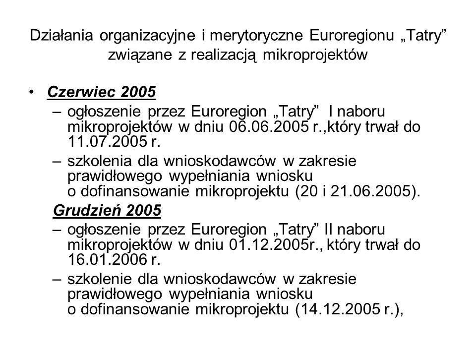 """Działania organizacyjne i merytoryczne Euroregionu """"Tatry"""" związane z realizacją mikroprojektów Czerwiec 2005 –ogłoszenie przez Euroregion """"Tatry"""" I n"""