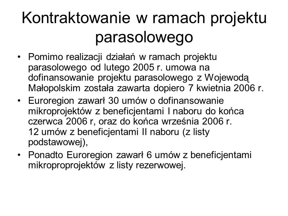 Kontraktowanie w ramach projektu parasolowego Pomimo realizacji działań w ramach projektu parasolowego od lutego 2005 r. umowa na dofinansowanie proje