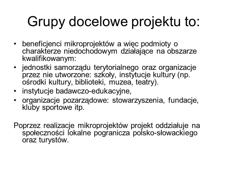 Grupy docelowe projektu to: beneficjenci mikroprojektów a więc podmioty o charakterze niedochodowym działające na obszarze kwalifikowanym: jednostki s