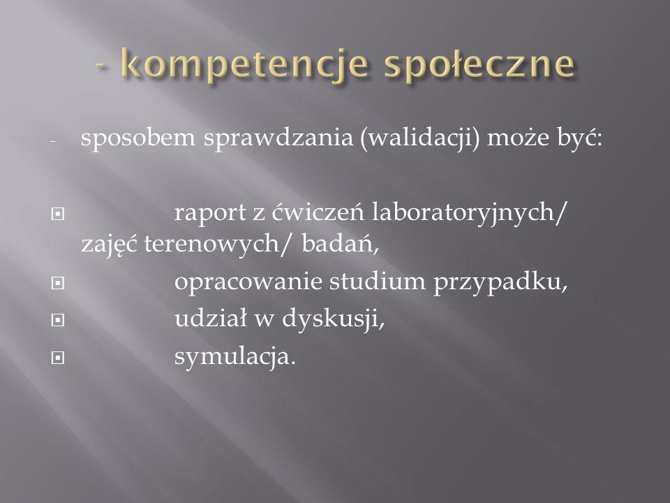 - sposobem sprawdzania (walidacji) może być:  raport z ćwiczeń laboratoryjnych/ zajęć terenowych/ badań,  opracowanie studium przypadku,  udział w dyskusji,  symulacja.