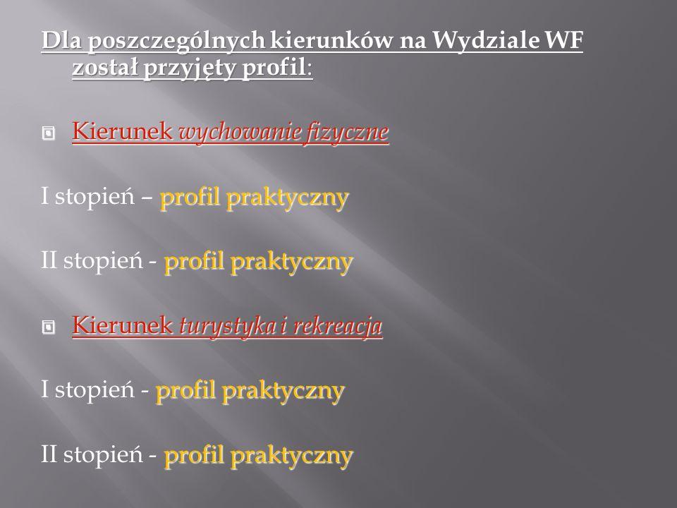 Dla poszczególnych kierunków na Wydziale WF został przyjęty profil :  Kierunek wychowanie fizyczne profil praktyczny I stopień – profil praktyczny profil praktyczny II stopień - profil praktyczny  Kierunek turystyka i rekreacja profil praktyczny I stopień - profil praktyczny profil praktyczny II stopień - profil praktyczny