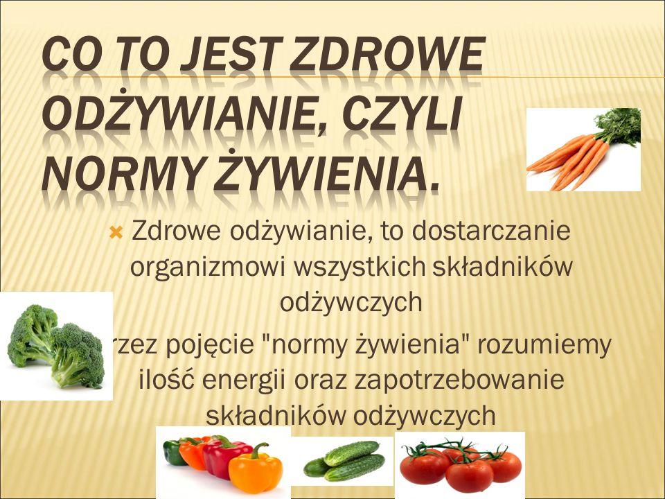  Zdrowe odżywianie, to dostarczanie organizmowi wszystkich składników odżywczych  Przez pojęcie normy żywienia rozumiemy ilość energii oraz zapotrzebowanie składników odżywczych
