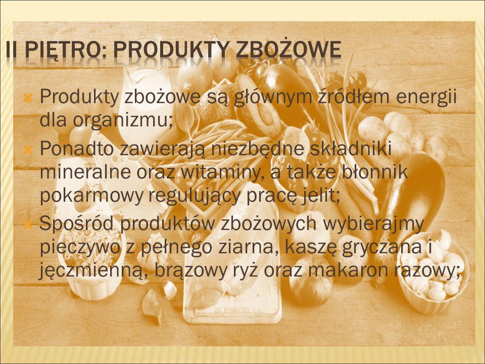  Produkty zbożowe są głównym źródłem energii dla organizmu;  Ponadto zawierają niezbędne składniki mineralne oraz witaminy, a także błonnik pokarmowy regulujący pracę jelit;  Spośród produktów zbożowych wybierajmy pieczywo z pełnego ziarna, kaszę gryczana i jęczmienną, brązowy ryż oraz makaron razowy;