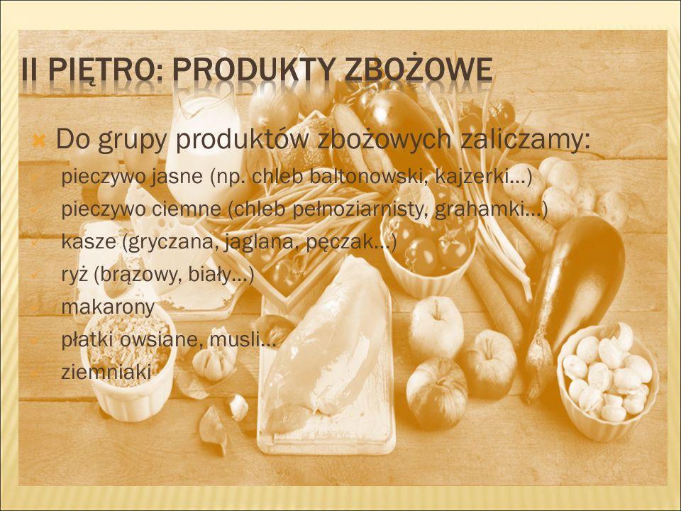  Do grupy produktów zbożowych zaliczamy: pieczywo jasne (np.