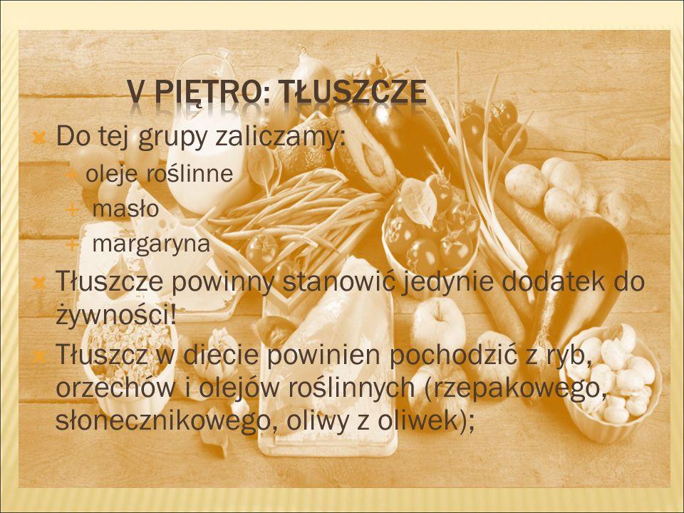  Do tej grupy zaliczamy:  oleje roślinne  masło  margaryna  Tłuszcze powinny stanowić jedynie dodatek do żywności.