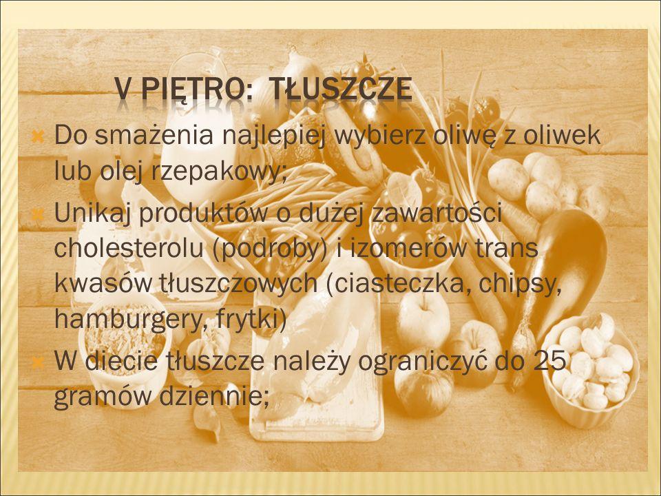  Do smażenia najlepiej wybierz oliwę z oliwek lub olej rzepakowy;  Unikaj produktów o dużej zawartości cholesterolu (podroby) i izomerów trans kwasów tłuszczowych (ciasteczka, chipsy, hamburgery, frytki)  W diecie tłuszcze należy ograniczyć do 25 gramów dziennie;