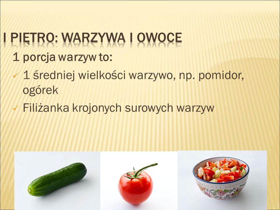 1 porcja warzyw to: 1 średniej wielkości warzywo, np.