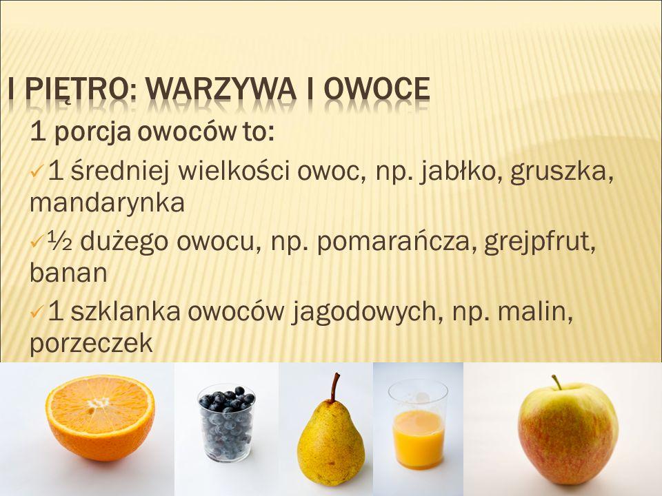 1 porcja owoców to: 1 średniej wielkości owoc, np.