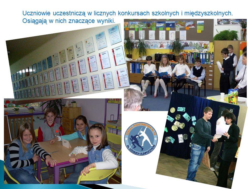 Uczniowie uczestniczą w licznych konkursach szkolnych i międzyszkolnych.