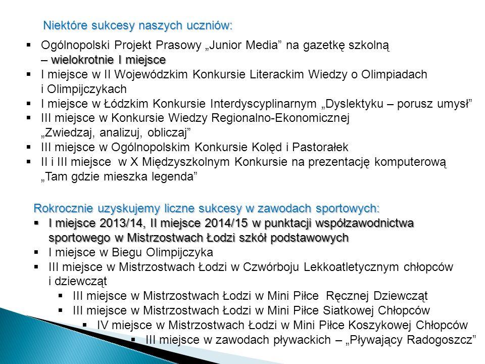 """Niektóre sukcesy naszych uczniów: wielokrotnie I miejsce  Ogólnopolski Projekt Prasowy """"Junior Media"""" na gazetkę szkolną – wielokrotnie I miejsce  I"""