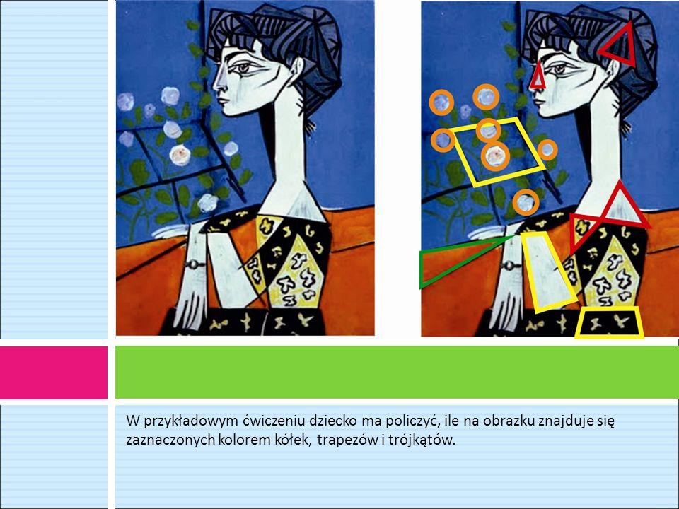 W przykładowym ćwiczeniu dziecko ma policzyć, ile na obrazku znajduje się zaznaczonych kolorem kółek, trapezów i trójkątów.