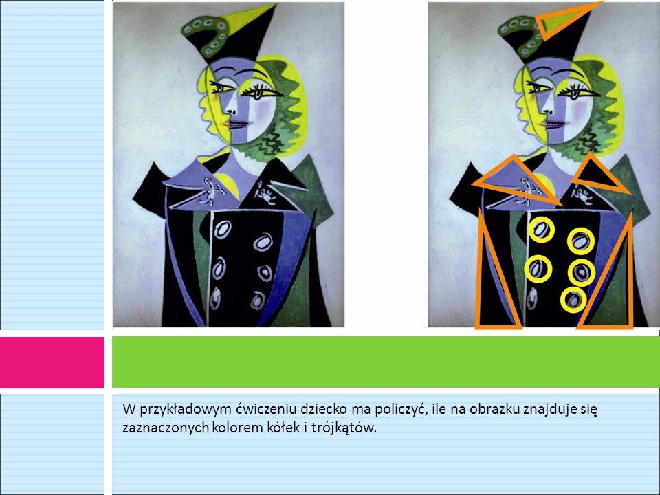 W przykładowym ćwiczeniu dziecko ma policzyć, ile na obrazku znajduje się zaznaczonych kolorem kółek i trójkątów.
