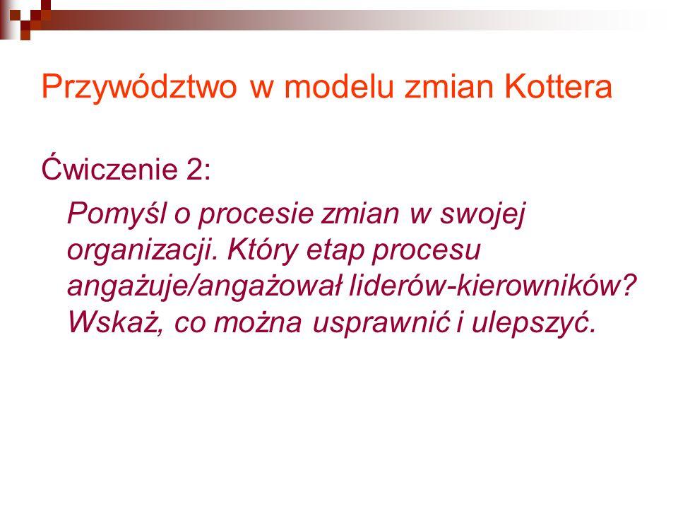 Przywództwo w modelu zmian Kottera Ćwiczenie 2: Pomyśl o procesie zmian w swojej organizacji.