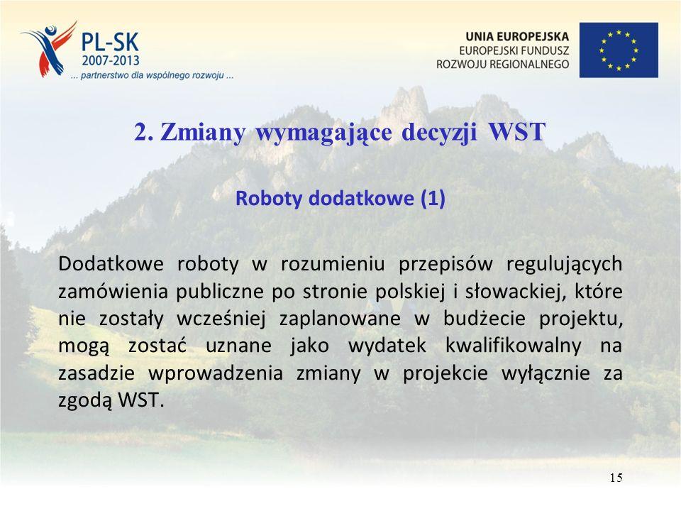 2. Zmiany wymagające decyzji WST Roboty dodatkowe (1) Dodatkowe roboty w rozumieniu przepisów regulujących zamówienia publiczne po stronie polskiej i