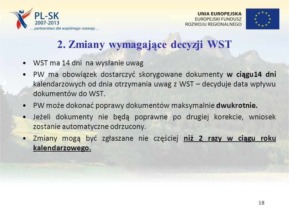 18 WST ma 14 dni na wysłanie uwag PW ma obowiązek dostarczyć skorygowane dokumenty w ciągu14 dni kalendarzowych od dnia otrzymania uwag z WST – decyduje data wpływu dokumentów do WST.