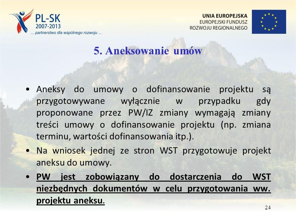 5. Aneksowanie umów Aneksy do umowy o dofinansowanie projektu są przygotowywane wyłącznie w przypadku gdy proponowane przez PW/IZ zmiany wymagają zmia