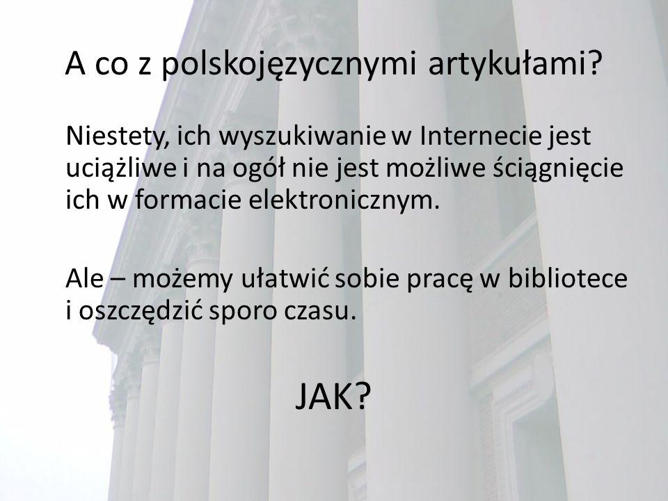 A co z polskojęzycznymi artykułami.