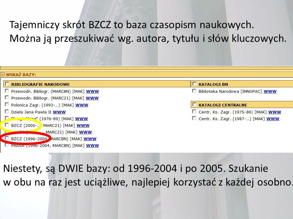 Tajemniczy skrót BZCZ to baza czasopism naukowych.