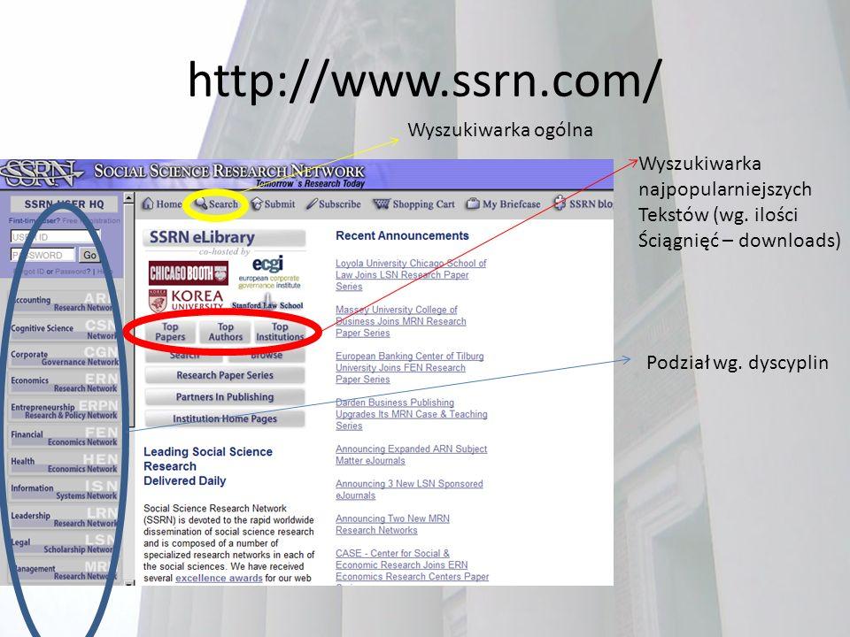 http://www.ssrn.com/ Wyszukiwarka ogólna Wyszukiwarka najpopularniejszych Tekstów (wg.