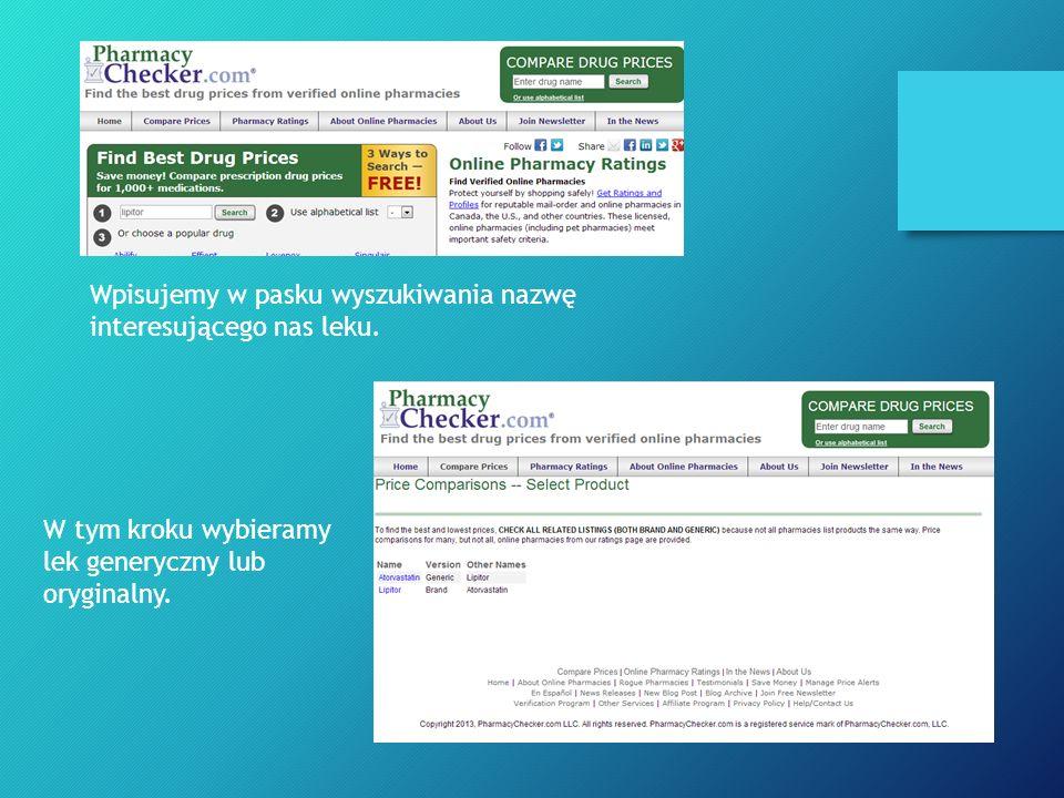 Wpisujemy w pasku wyszukiwania nazwę interesującego nas leku.