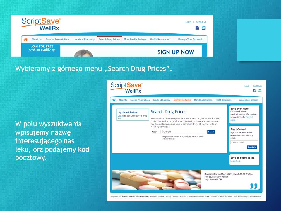 "Wybieramy z górnego menu ""Search Drug Prices ."
