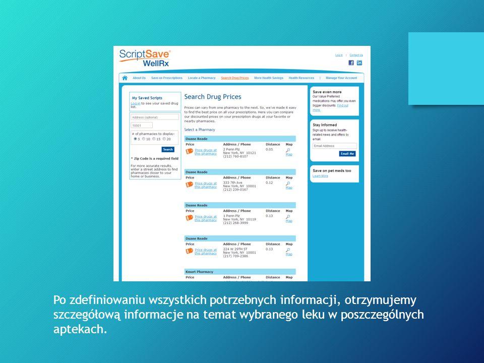 Po zdefiniowaniu wszystkich potrzebnych informacji, otrzymujemy szczegółową informacje na temat wybranego leku w poszczególnych aptekach.