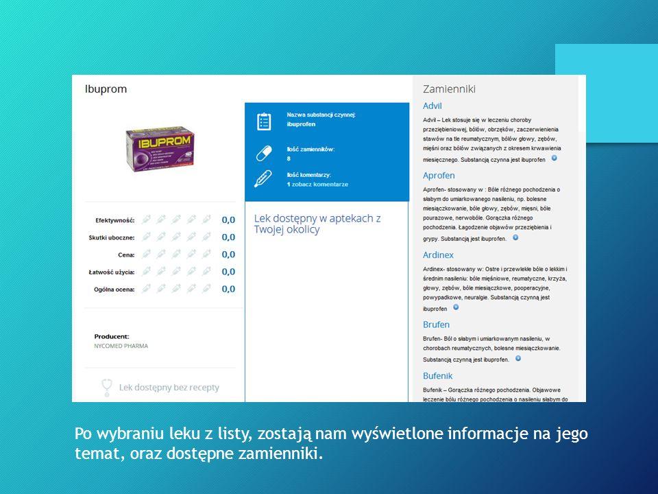 Po wybraniu leku z listy, zostają nam wyświetlone informacje na jego temat, oraz dostępne zamienniki.