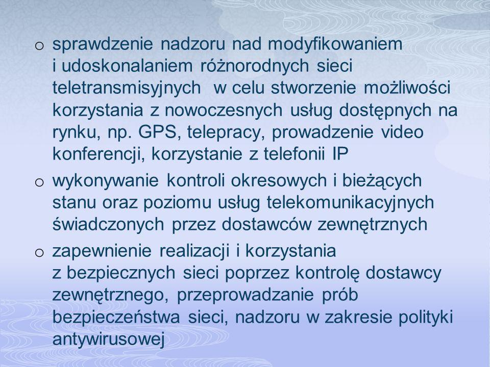 o sprawdzenie nadzoru nad modyfikowaniem i udoskonalaniem różnorodnych sieci teletransmisyjnych w celu stworzenie możliwości korzystania z nowoczesnych usług dostępnych na rynku, np.