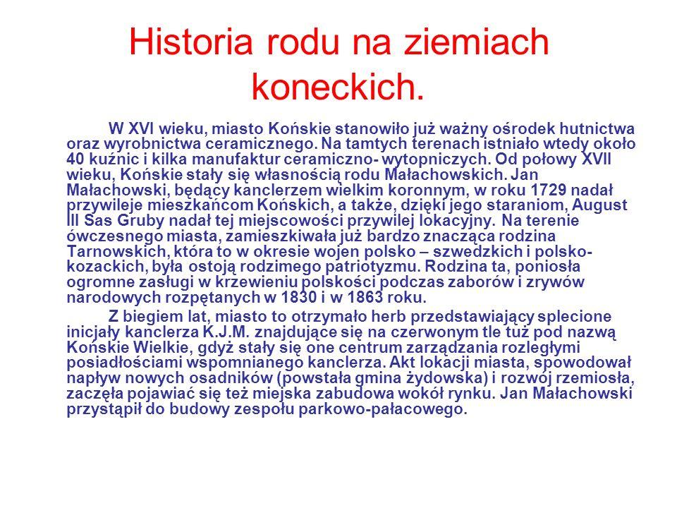 Historia rodu na ziemiach koneckich. W XVI wieku, miasto Końskie stanowiło już ważny ośrodek hutnictwa oraz wyrobnictwa ceramicznego. Na tamtych teren