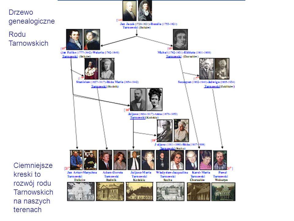 Drzewo genealogiczne Rodu Tarnowskich Ciemniejsze kreski to rozwój rodu Tarnowskich na naszych terenach