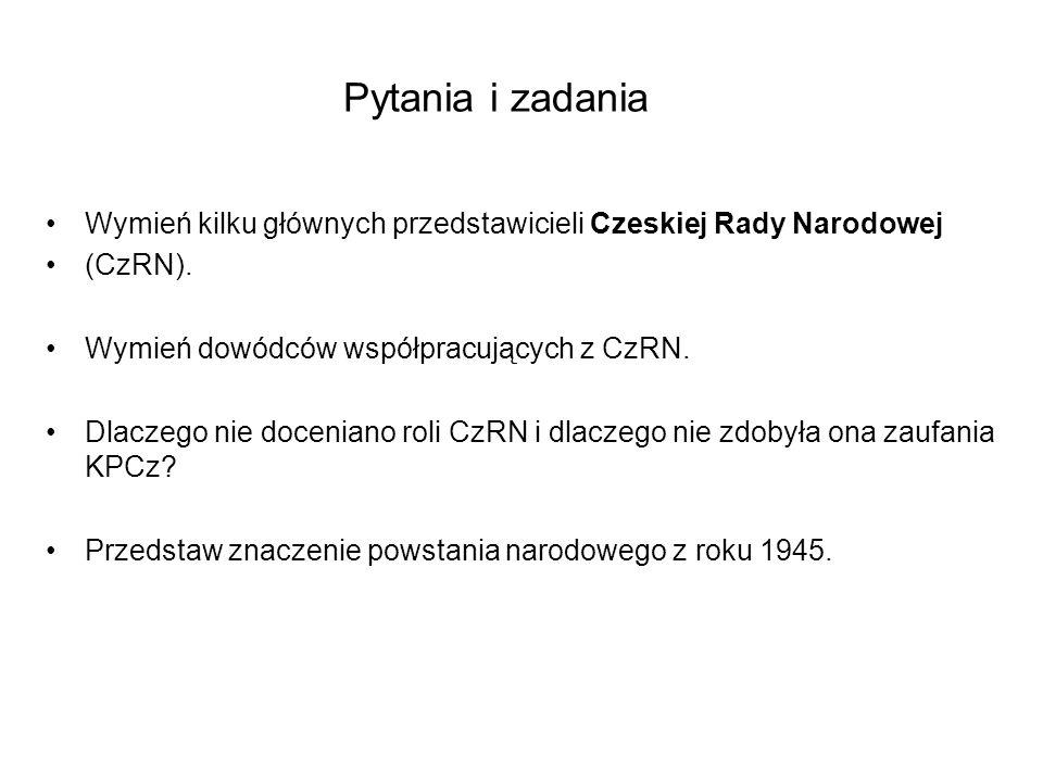 Wymień kilku głównych przedstawicieli Czeskiej Rady Narodowej (CzRN).